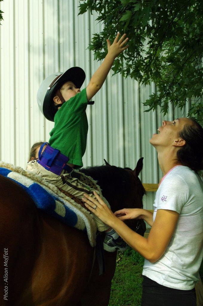 Equithérapeute en séance avec un enfant
